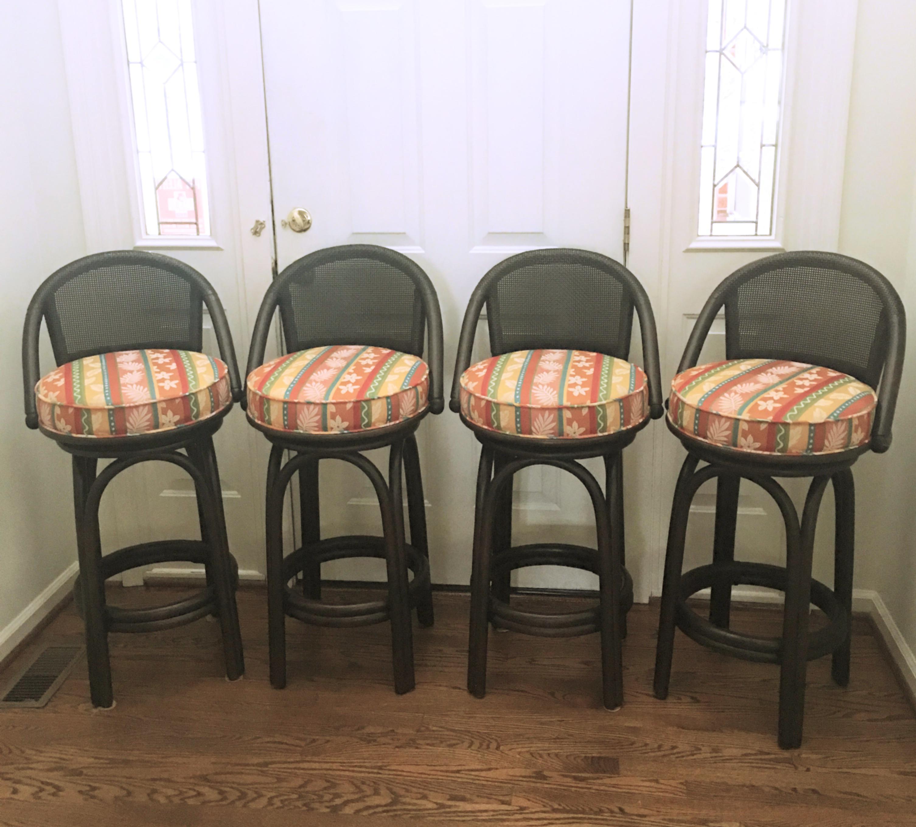 Ficks Reed Swivel Bar Stools Set Of 4 Chairish