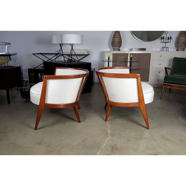 Sculptural Mahogany Lounge Chairs - A Pair - Image 3 of 6