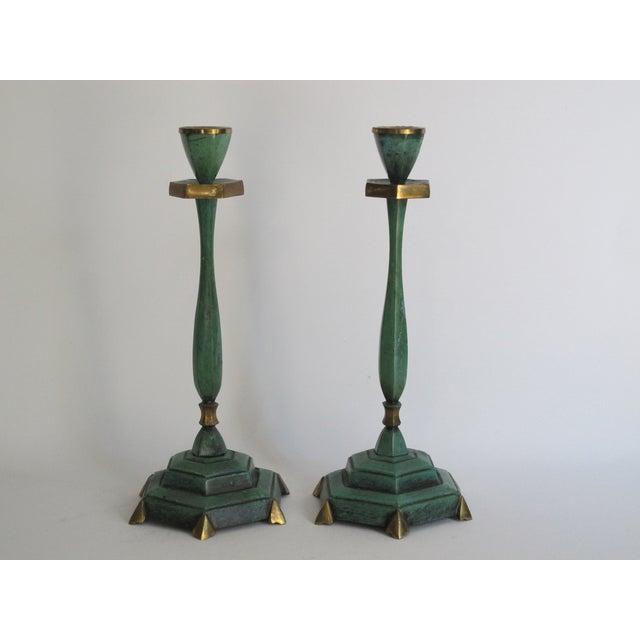 Verdigris Candlesticks - Pair - Image 2 of 4