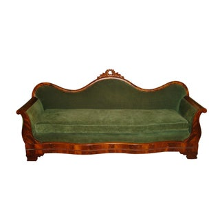 Green Velvet Serpentine Victorian Sofa