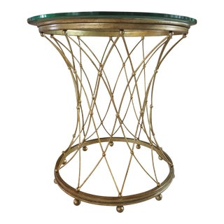Geometric Design Brass Side Table