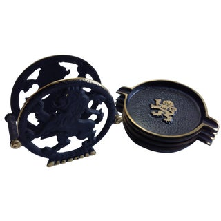 Black & Gold Ashtrays and Holder - Set of 5