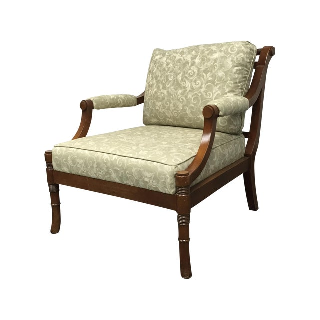 Custom White And Grey Armchair - Image 1 of 9