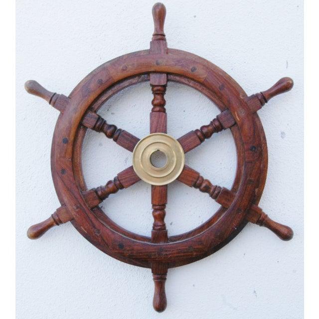 Mahogany & Brass Nautical Boat Ship Steering Wheel - Image 2 of 5