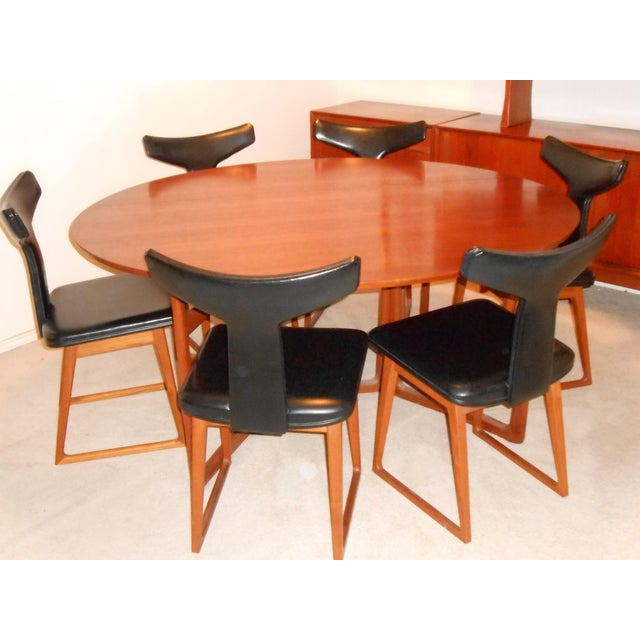 Arne Vodder for Sibast Gate Leg Teak Dining Table With 6 T-Back Black Leather Dining Chairs - Image 2 of 11