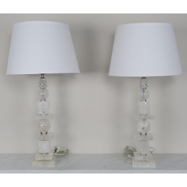 Pair of Sculptural Rock Crystal Quartz Lamps w/ Linen Shades - Image 2 of 10
