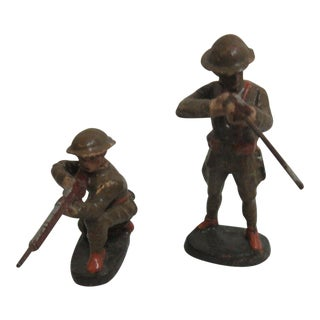 Vintage Elastolin Germany Army Soldier WW1 Rifleman Infantry Toy Figures - A Pair