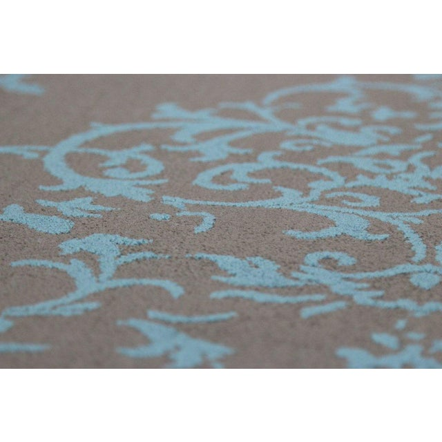 Gray & Turquoise Floral Pattern Rug - 4′5″ × 7′7″ - Image 4 of 4