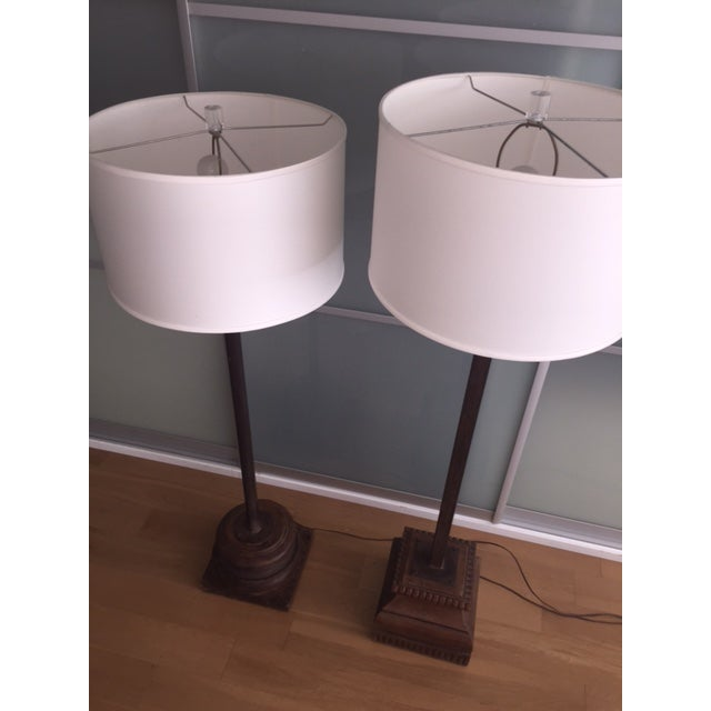 Antique Asian Wood & Metal Floor Lamps - A Pair - Image 6 of 7