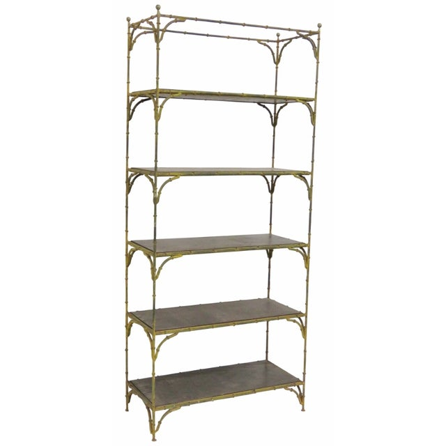 Image of Distressed Painted Metal Faux Bamboo Etagere