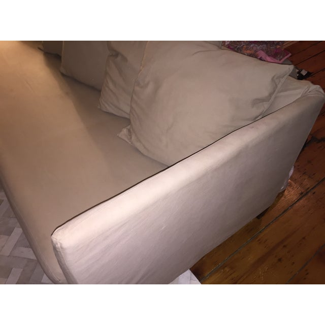 Bernhardt Contemporary Tan Slipcovered Sofa - Image 4 of 5