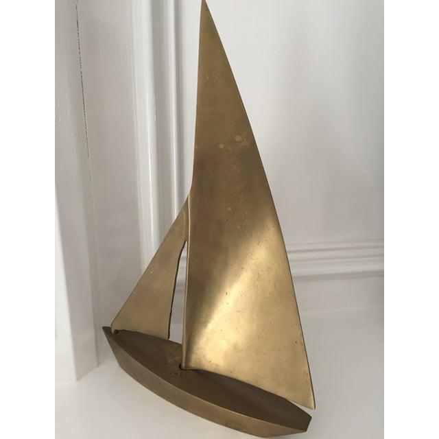 MCM Vintage Brass Sailboat - Image 6 of 6