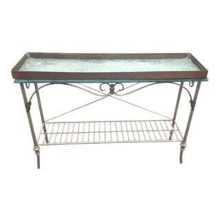 French Metal Console with Copper Tray