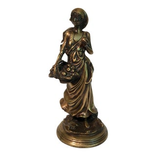 Woman With Apples Bronze Figure