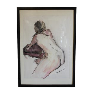 Vintage Oil on Canvas Nude Drawing