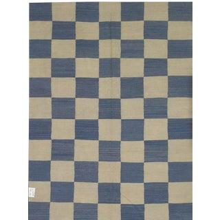 "Pasargad Blue Check Pattern Rug - 5'7"" X 7'5"""