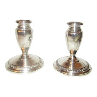 Empire Sterling Silver Candle Holders - A Pair