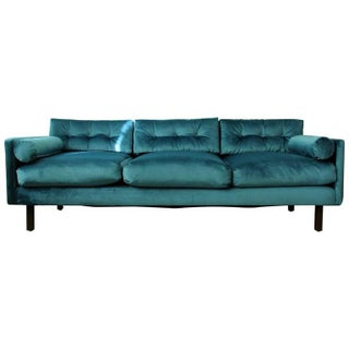 Harvey Probber Tuxedo Sofa in Peacock Velvet with Down Cushions, 1960s