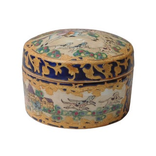 Oriental Porcelain Dominos Dog Container Box
