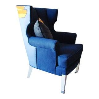 """Rene Gruau"" Zing Textile Custom Arm Wing Chair"
