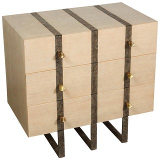 Paul Marra Three-Drawer Banded Chest in Bleached Douglas Fir and Inset Iron Band