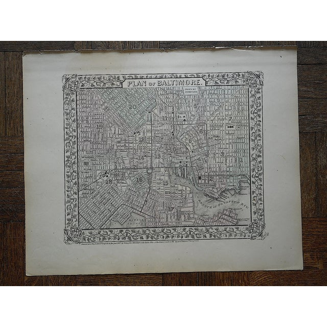Baltimore Antique Map Lithograph - Image 3 of 3