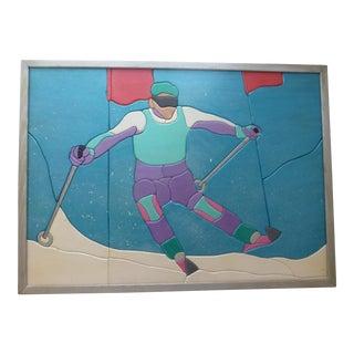 Mid-Century Retro Ski Bunny Painting