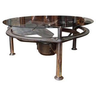 Industrial Steel Architectural Element as a Low Table with Glass Top, circa 1914