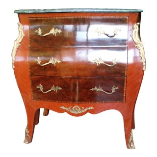 20th Century Kingwood and Mahogany Marble Top Bombe Commode