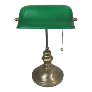 Library Lamp With Green Glass Shade