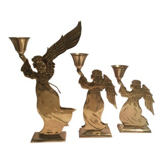 Brass Angel Candleholders - Set of 3