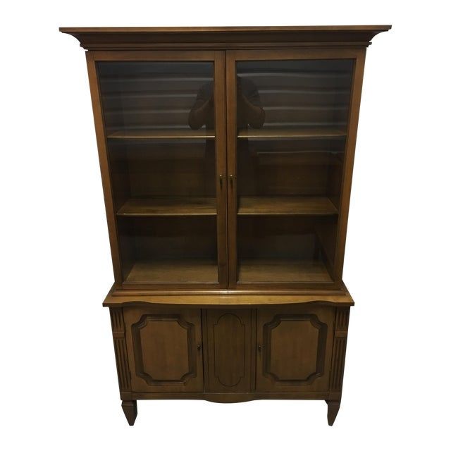 Vintage Fruitwood Hutch China Cabinet - Image 1 of 7