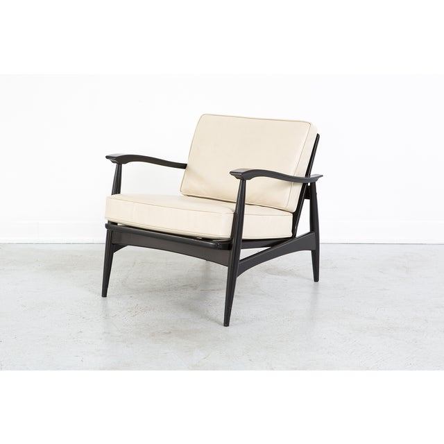 Image of Mid-Century Cream Leather Accent Chair