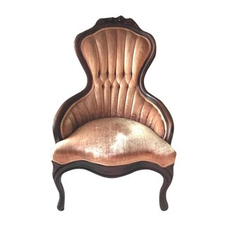 Pink Velvet & Hand Carved Wooden Accent Chair