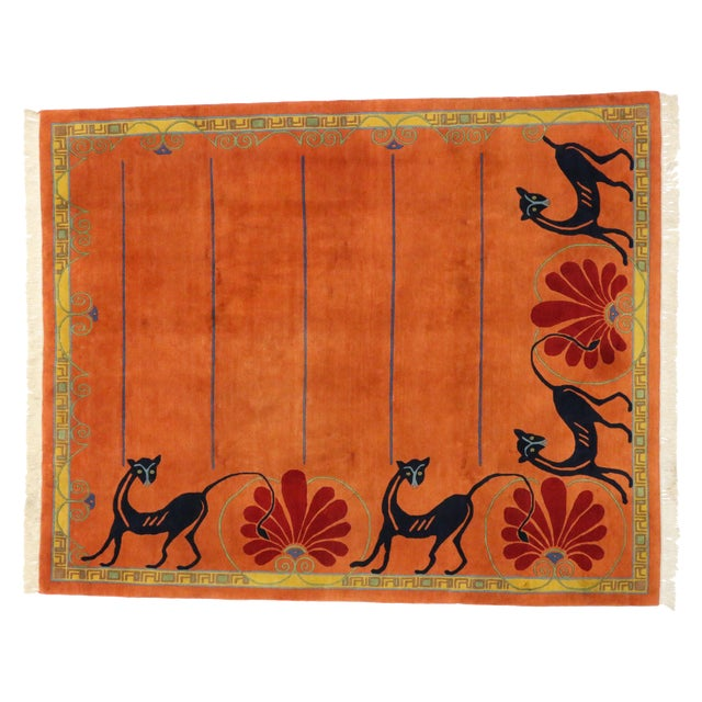 Vintage Tibetan Orange with Black Cats Rug - 8′3″ × 10′2″ - Image 1 of 7