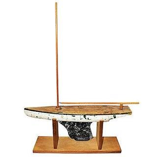 Rustic Wooden Pond Model Sailboat