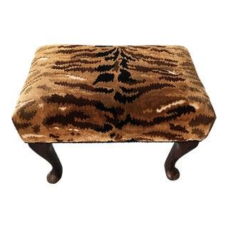 Vintage Tiger Print Footstool