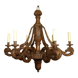 Antique Chandelier, carved wood