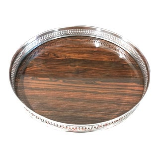 Faux Bois & Sterling Silver Serving Tray