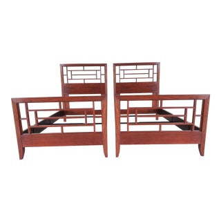 Henkel Harris Cherry Pierced Panel Beds - Pair