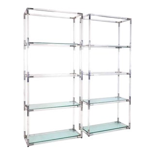 Pair Charles Hollis Jones Style Lucite and Chrome Shelves or Etagere