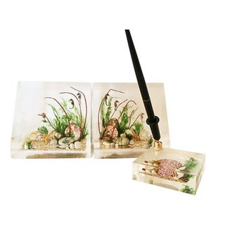 Lucite Seahorse Bookends & Pen Holder