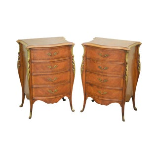 Vintage Pair of French Louis XV Style Satin Wood Chests Nightstands