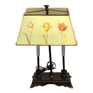 Antique Tole Metal Lamp & Shade