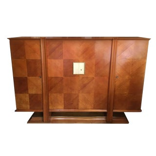 Circa 1940 Andre Arbus Cabinet With Brass & Parchment Trim
