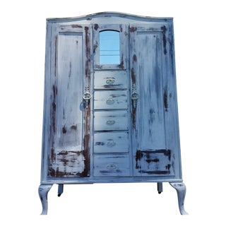 Antique Shabby Chic White Armoire