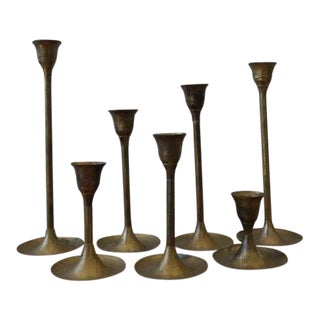 Vintage Graduated Brass Candlesticks - Set of 7