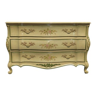 French Provincial Bombay Bombe Hand Painted Ornate Dresser Chest by White Furn