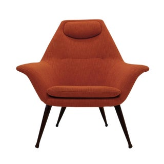 Midcentury Sleek Modern Sculptural Lounge Chair in New Orange Upholstery