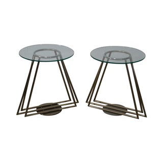 Mid-Century Chrome & Glass Side Tables - Pair